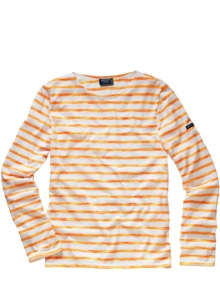 Scribbled-Bretagne-Shirt Streifen orange Detail 1