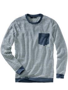 Jan Maat Pullover Streifen blau/weiß Detail 1