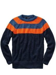 Energiespar-Pullover Streifen blau/orange Detail 1