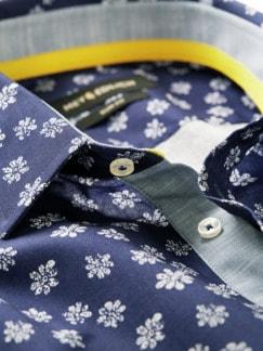 Blaudruck-Hemd blau/weiß Detail 4