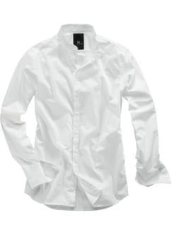 Stehkragenhemd weiß Detail 1