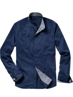 Doris` Stehkragenhemd signalblau Detail 1