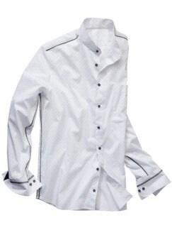 Signet-Stehkragenhemd weiß/blau Detail 1