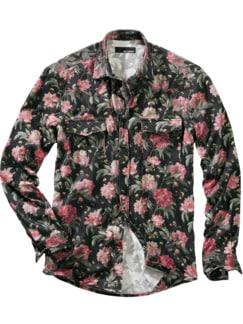 Liberty Hemd Blooms schwarz/rosenrot Detail 1