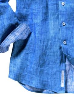Zephir-Leinenhemd blau Detail 4
