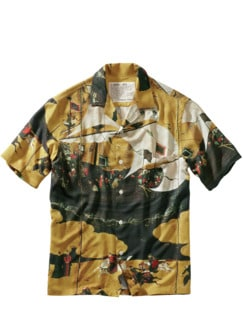 Nanban-Art-Hemd gelb/braun Detail 1