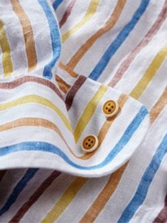 Mediterranes Blasebalghemd Streifen gelb Detail 4