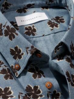 Denimania-Blumenhemd blau Detail 4