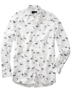 Schwarmintelligenz-Hemd weiß bedruckt Detail 1