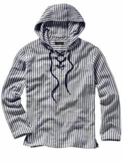 Freibeuter-Hemd Streifen blau/creme Detail 1