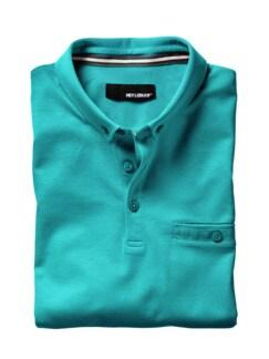 Polo-Shirt karibikblau Detail 1