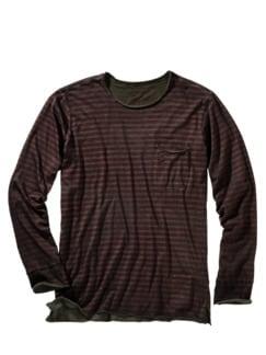 Shirt Ron Streifen dunkelrot/braun Detail 1