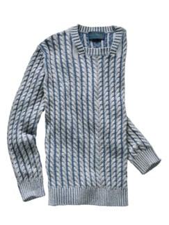 Tauwerk-Pullover grau/blau Detail 1
