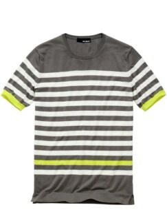 Szene-Strickshirt Streifen grau/weiß Detail 1