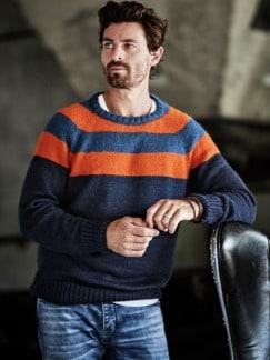 Energiespar-Pullover Streifen blau/orange Detail 2