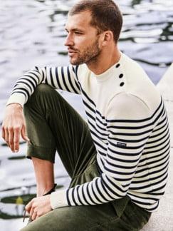 Pullover Rochefort Streifen weiß/blau Detail 2