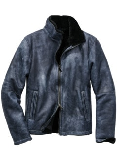 Schaffell-Fliegerjacke used-blue Detail 1