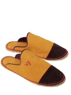 Well Fit Slipper gelb/braun Detail 1