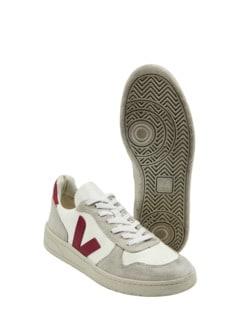 Veja Sneaker V10 kalkweiß/rot Detail 1