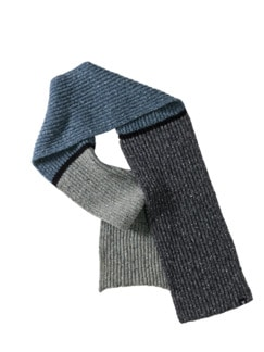 Flugfäden-Schal recycled grau/blau/braun Detail 1