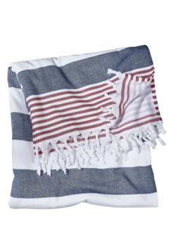 Hamam-Tuch Streifen rot/weiß/blau Detail 1