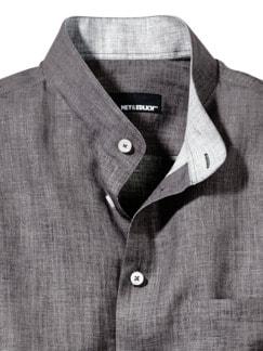 Zephir-Leinenhemd grau Detail 3