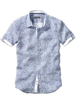 Blätterhemd weiß/blau Detail 1