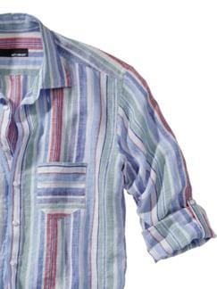 Mediterranes Leinenhemd Streifen azur Detail 3