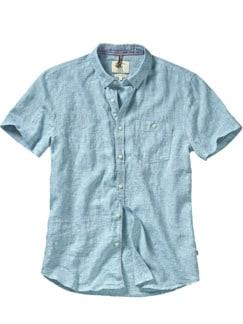 Tricolore-Leinenhemd hellblau Detail 1
