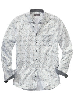 Leichtlebiges Businesshemd weiß gemustert Detail 1