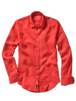 Bretagne-Leinenhemd orange Detail 1