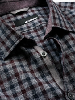 Luftspeicher-Hemd Check Karo blau/rot Detail 4