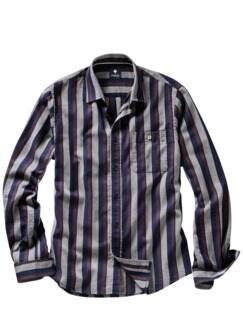 Bellville-Hemd Streifen blau/grau Detail 1
