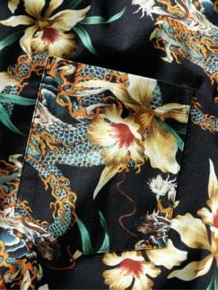 Kurzarmhemd Druk Yül schwarz/bunt Detail 4