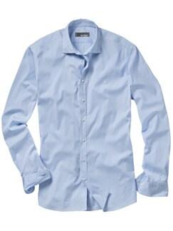 Langstaplerhemd blau weiß gestreift Detail 1
