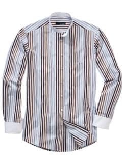 Bohemes Streifenhemd Streifen weiß/braun/grau Detail 1