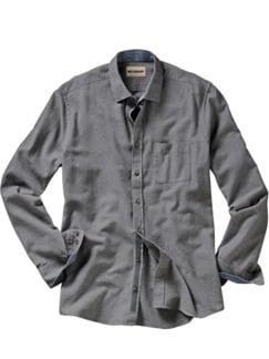 Entspanntes Flanellhemd uni grau Detail 1