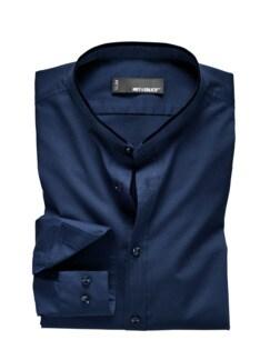 Stehkragenhemd fernblau Detail 1