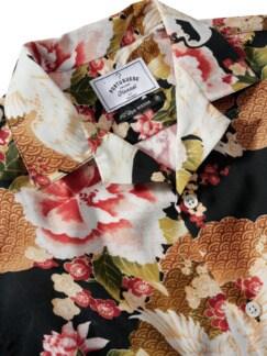 Handelsrouten-Hemd schwarz/kirschblüte Detail 3