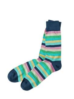 Streifen-Socke Streifen navy/rosa Detail 1
