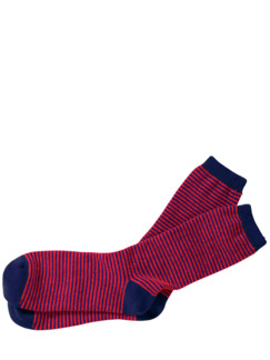 Kaschmir-Socke Streifen blau/rot Detail 1