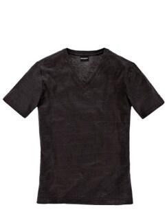 Leinen-V-Shirt mokka Detail 1