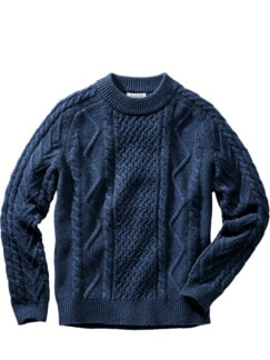Aran-Pullover blau Detail 1