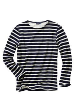 Bretagne-Winter-Shirt Bernaville Streifen marine/ecru Detail 1