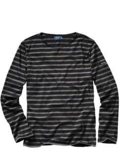 Bretagne 1858-Shirt Classic Streifen schwarz/taupe Detail 1