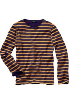 Bretagne-Winter-Shirt Bernaville Streifen aubergine/honig Detail 1