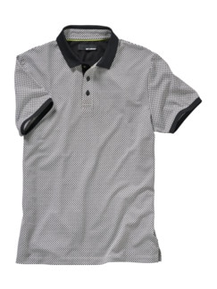 Anzugpolo schwarz/weiß Detail 1