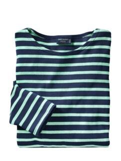 Bretagne-Shirt Meridien Streifen marine/aqua Detail 1