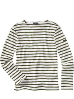 Bretagne-Shirt Meridien Streifen weiß/khaki Detail 1