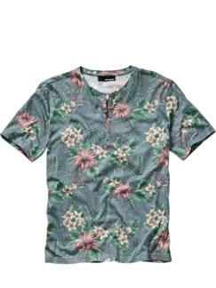 Plumeria-Shirt Blumen hellblau Detail 1